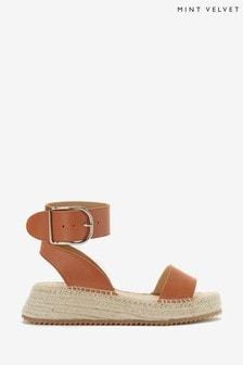 Mint Velvet Eloise Tan Leather Sandals