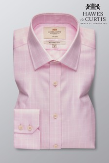 Hawes & Curtis Pink Slim Fit Textured Grid Check Shirt