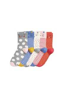 Animal Faces Ankle Socks Five Pack
