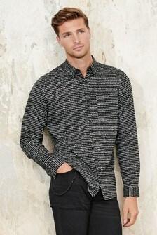 Mono Print Slim Fit Long Sleeve Shirt