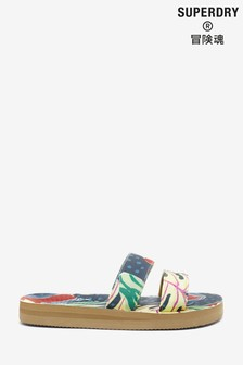 Superdry Tropical Print Two Strap Sandals
