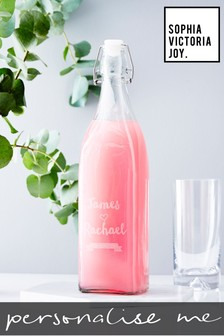 Personalised Wedding Glass Bottle by Sophia Victoria Joy