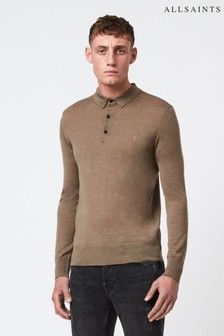 AllSaints Mode Merino Long Sleeve Knitted Polo