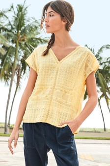 Broderie Lace Short Sleeve Top