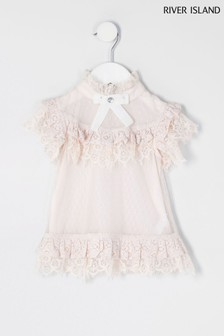 River Island Pink Light Sleeveless Lace Dress