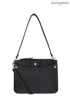 Accessorize Black Dallas Double Zip Shoulder Bag