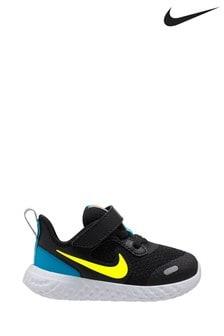 Nike Run Black/Blue Revolution 5 Infant Trainers