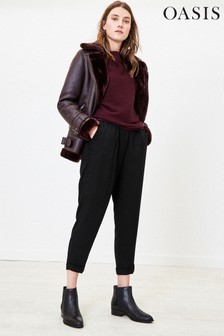 Oasis Black Relaxed Peg Trousers