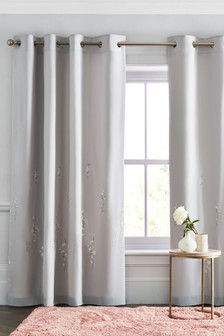 Grey Embroidered Floral Eyelet Curtains