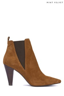 Mint Velvet Kayla Chestnut Textured Boots