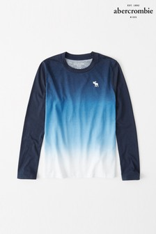 Abercrombie & Fitch Blue Dip Dye Long Sleeve T-Shirt