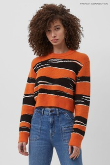 French Connection Orange Mona Amua Jacquard Jumper