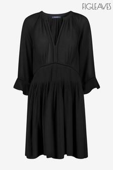 Figleaves Black Icon Milan Kaftan Ladder Trim Dress