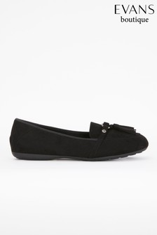 Evans Extra Wide Fit Black Tassel Detail Loafers