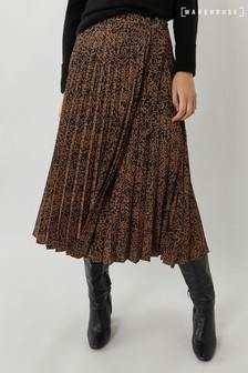 Warehouse Brown Ink Spot Midi Pleated Skirt