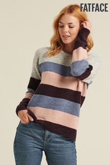 FatFace Purple Millie Stripe Jumper