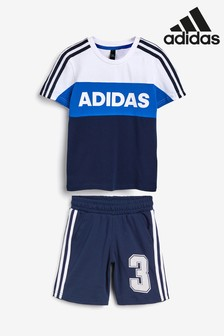 adidas Little Kids Navy/White T-Shirt And Short Set