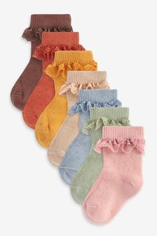 7 Pack Lace Frill Ankle Socks (Younger)