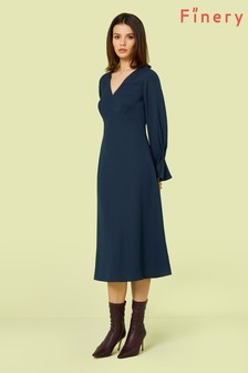 Finery London Midnight Blue Lykke Flared Sleeve Midi Dress