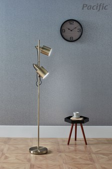 Aaron Antique Brass Metal Task Floor Lamp by Pacific Lifestyle