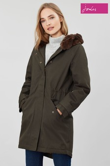 Joules Green Piper Parka With Faux Fur Trimmed Hood