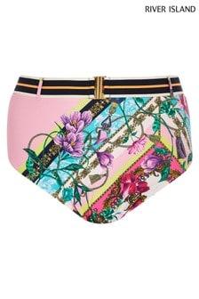 River Island Pink Print Chain High Waist Bikini Bottoms