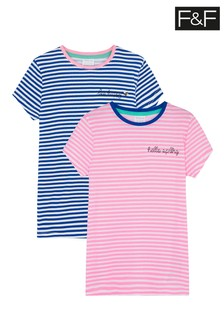 F&F Stripe Embroidered T-Shirts Two Pack