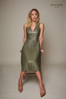 Sonder Studio  Green PU Pleated Dress
