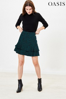 Oasis Green Mixed Animal Print Skirt