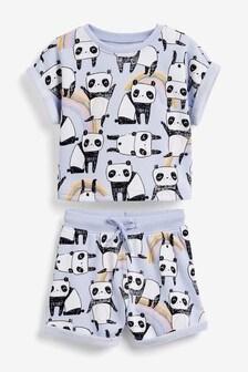 Panda Print Shorts Co-Ord Set (3mths-7yrs)