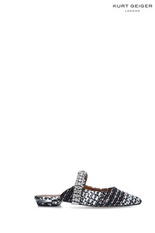 Kurt Geiger London Blue Princely Leather Heel Mules