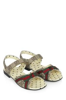 GUCCI Kids Girls Brown Sandals
