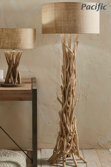 Derna Driftwood Floor Lamp With Natural Jute Shade by Pacific Lifestyle