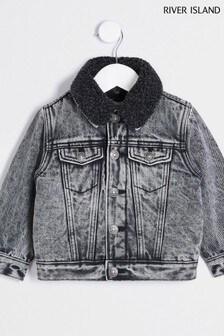 River Island Grey Acid Wash Borg Jacket