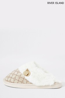 River Island Cream Logo Monogram Faux Fur Lined Closed Toe Mule Slippers