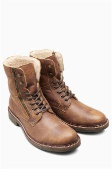 Кожаные ботинки на молнии с меховой подкладкой