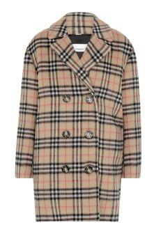 Girls Beige Check Wool Coat