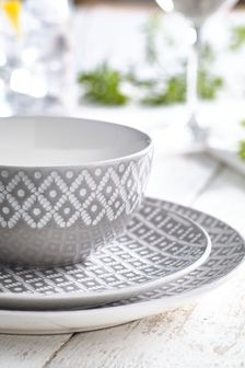 12 Piece Geo Dinner Set & Dinnerware | Dinner Sets Plates u0026 Crockery | Next UK