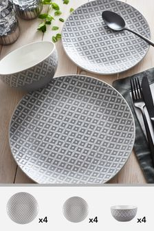 12 Piece Geo Dinner Set & Tableware \u0026 Serveware | Dinner sets \u0026 Serving Dishes | Next UK