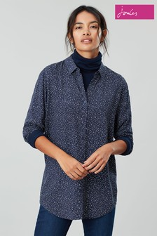 Joules Blue Elvina Button Front Woven Top
