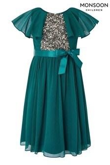 Monsoon Blue Cape Sequin Dress