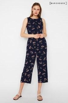 Warehouse Blue Dandelion Culotte Jumpsuit