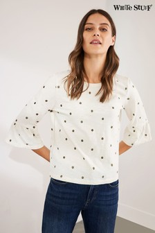White Stuff Ivory Spot Embroidered T-Shirt