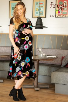 Frugi Black Floral Recycled Maternity Occasion Dress