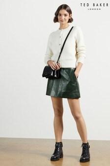 Ted Baker Green Oswine Pleather Mini Skirt