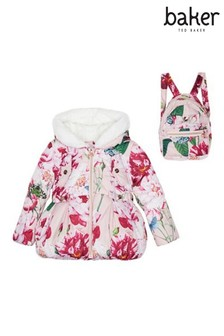 baker by Ted Baker Pink All Over Print Padded Coat And Backpack