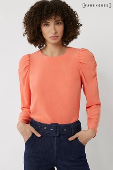 Warehouse Peach Ruched Sleeve Top