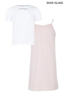 River Island Pink Gingham Pinafore T-Shirt Dress Set