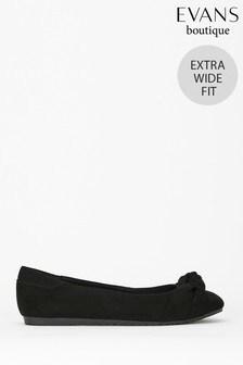 Evans Extra Wide Fit Black Knot Front Ballet Pumps