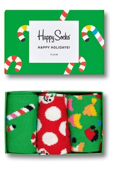 Happy Socks Kids Holiday Socks Three Pack Gift Box